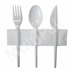 Sztućce - białe widelec,nóż,łyżka+ serwetka