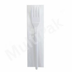 Sztućce - białe widelec + serwetka