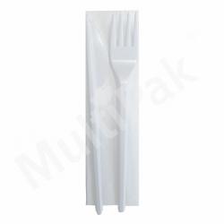 Sztućce - białe widelec,nóż+ serwetka