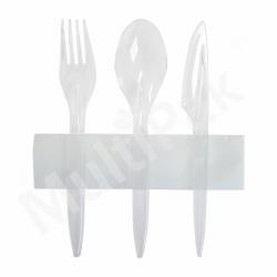 Sztućce - transparent widelec,nóż,łyżka+ serwetka