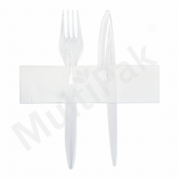 Sztućce - transparent widelec,nóż + serwetka