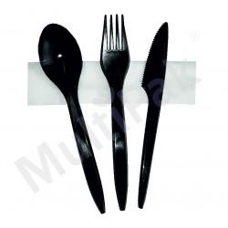 Sztućce - czarne widelec,nóż,łyżka+ serwetka