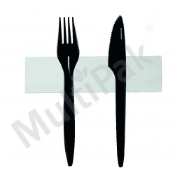 Sztućce - czarne widelec,nóż + serwetka