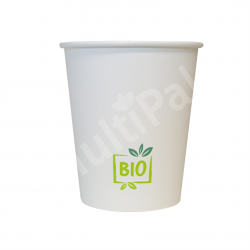 Kubek ekologiczny powlekany PLA 250ml nadruk BIO (50szt.)