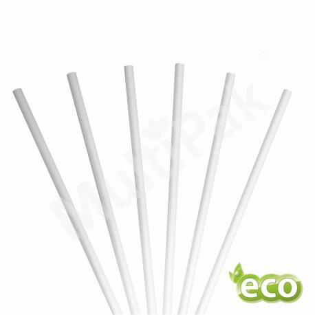 Słomki papierowe do smoothie i deserów białe cienkie 6mm