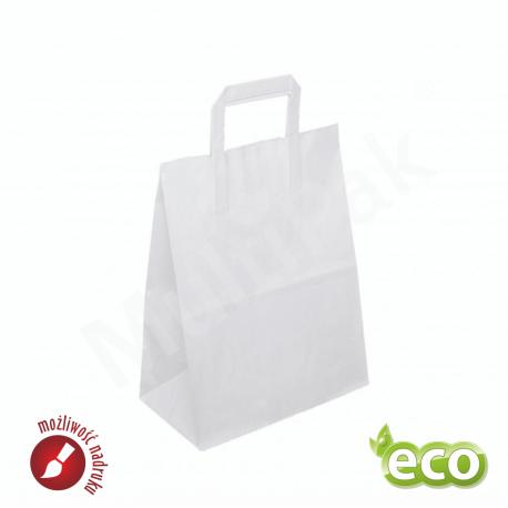 torba papierowa biała z uchem płaskim 220x110x246mm