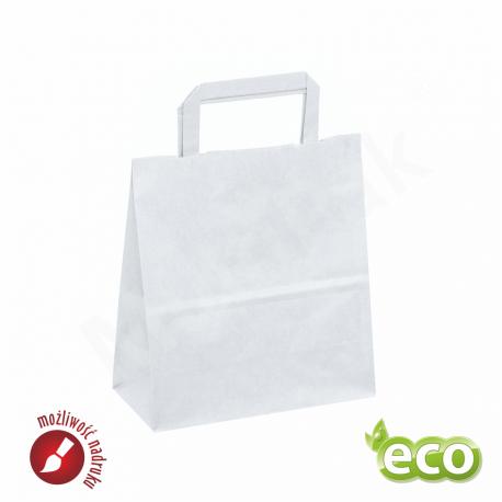 torba papierowa biała duża z uchwytem płaskim  250x150x300mm