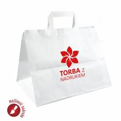 Biała torba papierowa na LUNCH Z NADRUKIEM indywidualnym /płaski uchwyt
