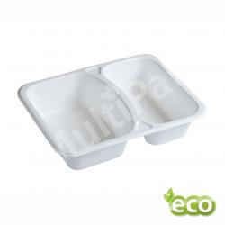 Biodegradowalny pojemnik do zgrzewu z pulpy trzciny dwukomorowy EKO /400szt