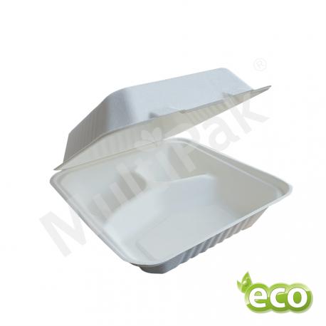 Menu Box pojemnik obiadowy z trzciny 3-dzielny  200x200 / 200szt