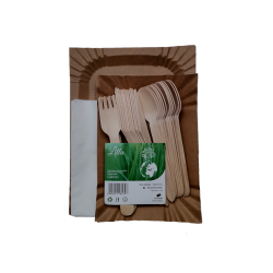 Jednorazowy zestaw grillowy/piknikowy ECO (Tacki Serwetki Sztućce) na 12 osób